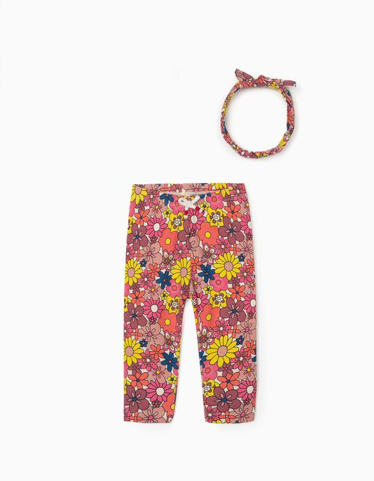 Leggings e Fita Estampadas para Bebé Menina, Multicolor