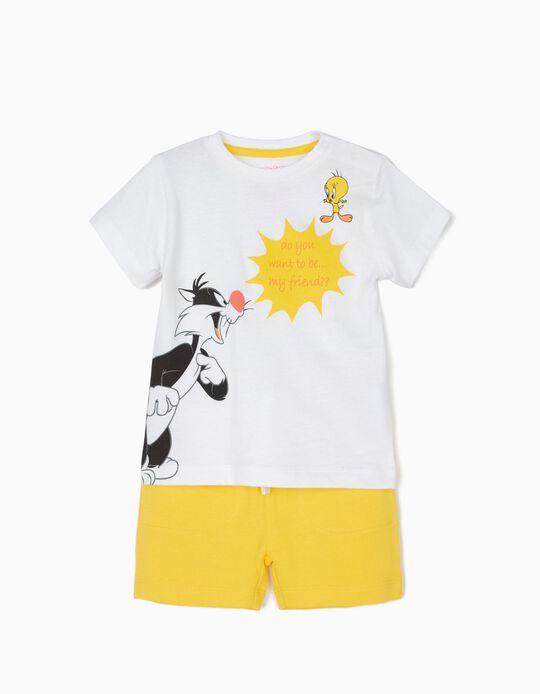 T-shirt e Calções para Bebé Menino 'Silvester & Tweety', Branco