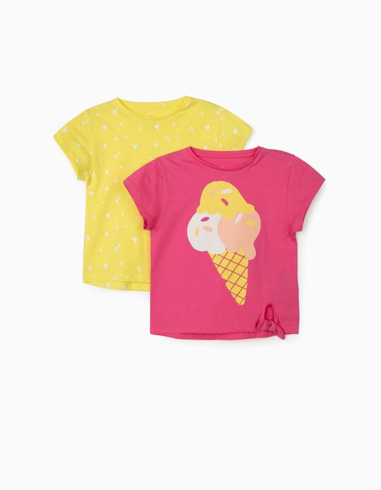 2 T-shirts para Menina 'Ice Cream', Rosa/Amarelo