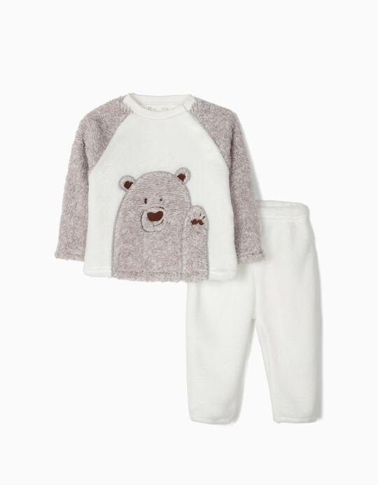 Pijama Coralina para Bebé Niño 'Teddy Bear', Gris y Blanco