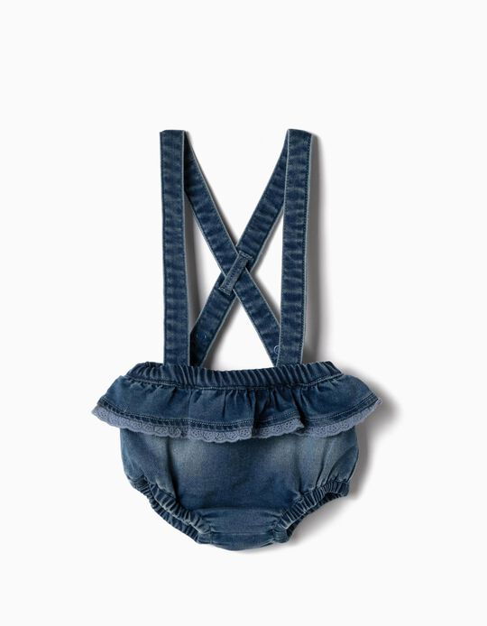 Trousers with Straps for Newborn Baby Girls, 'Comfort Denim', Blue