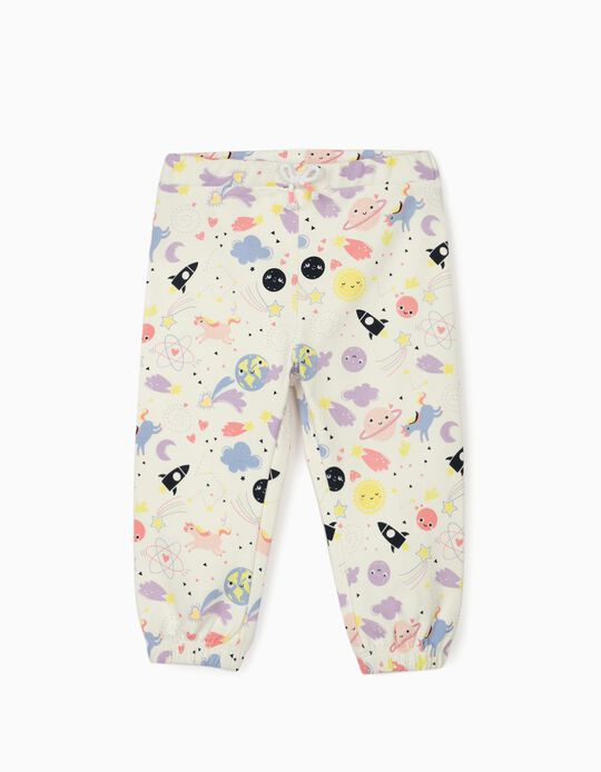Joggers for Baby Girls 'Solar System & Unicorns', White