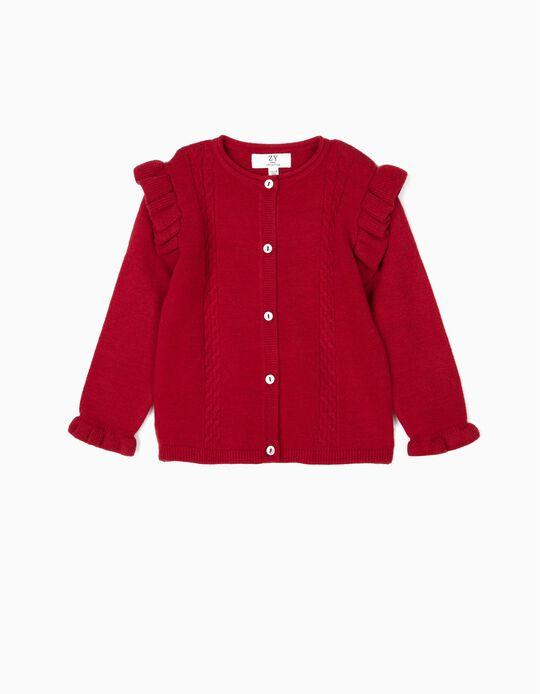 Casaco de Malha para Bebé Menina com Folhos,  Vermelho