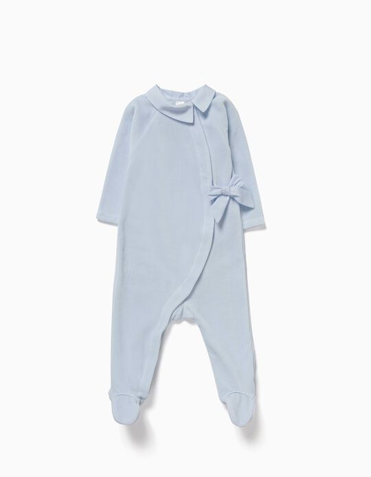 Velvet Sleepsuit with Bow for Newborn