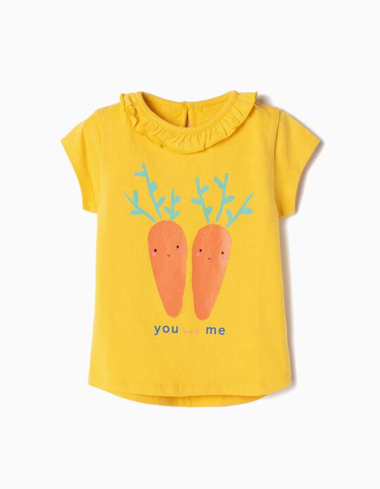Camiseta para Bebé Niña 'You and Me', Amarilla