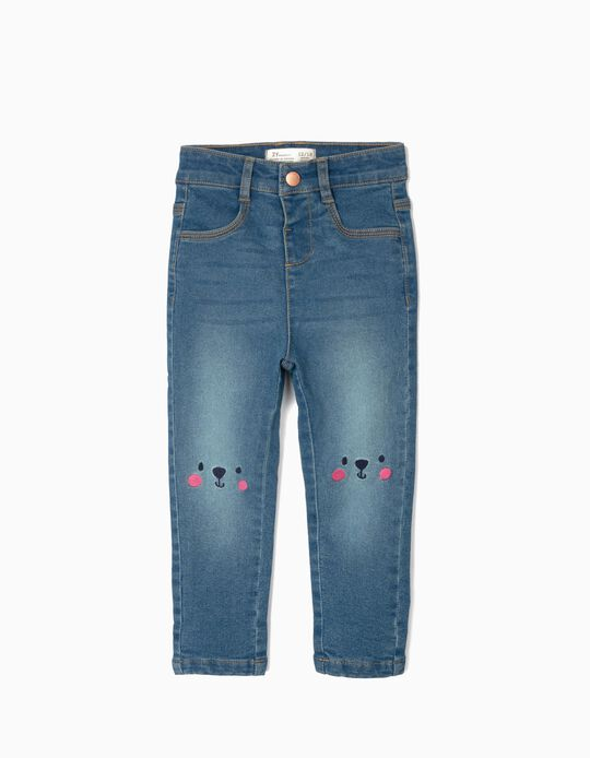 Denim Jeans for Baby Girls 'Cute Bear', Blue