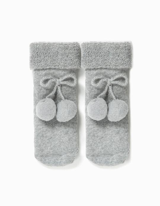 Calcetines Terry para Bebé Niña con Pompones, Gris