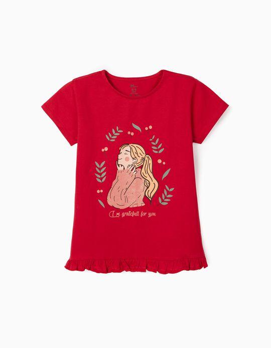 T-Shirt em Algodão Orgânico para Menina, Grateful, Vermelho