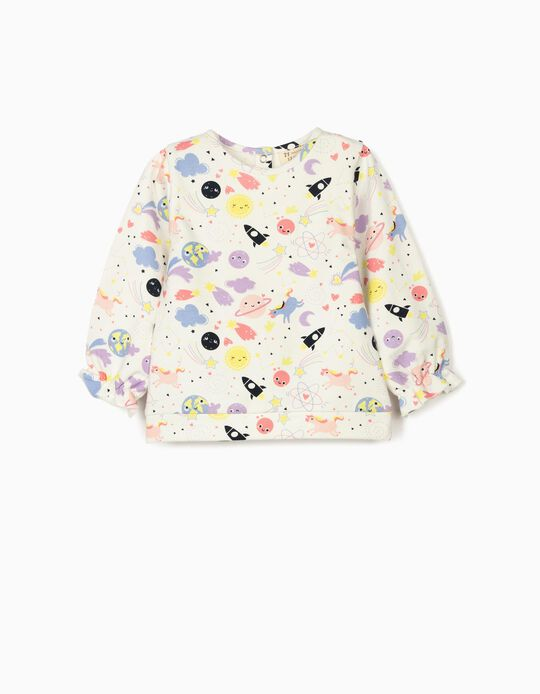 Sweatshirt for Baby Girls, 'Solar System & Unicorns', White
