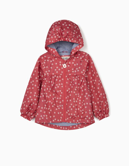 Hooded Parka for Girls, 'Flowers', Dark Pink
