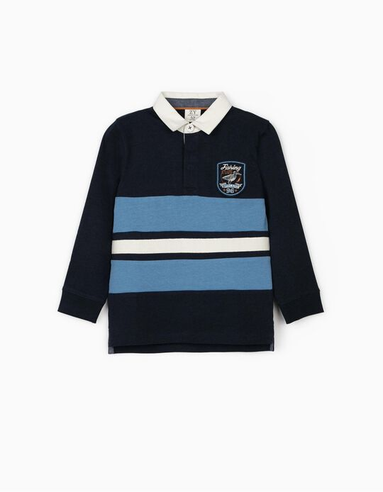 Polo Shirt for Boys 'Fishing Club', Blue