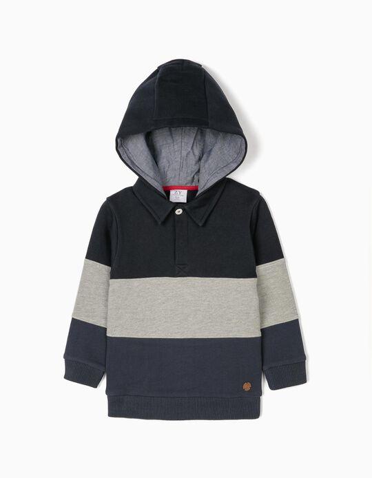 Sweatshirt com Capuz para Menino, Azul/Cinza