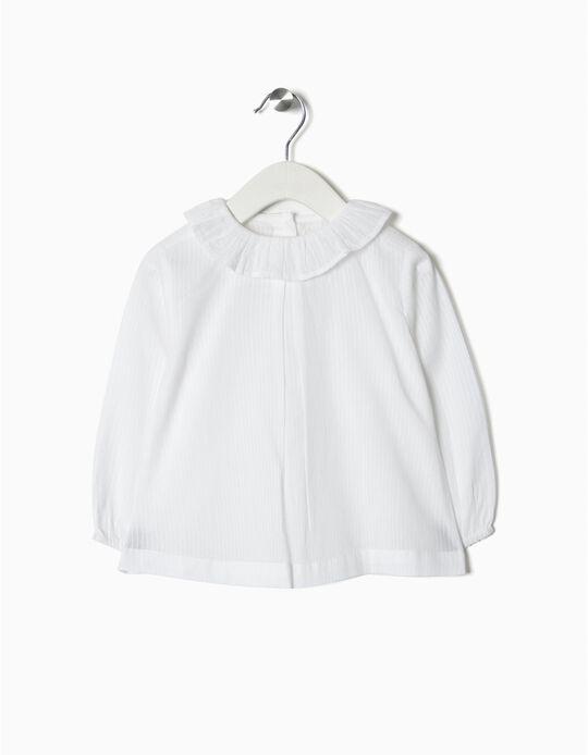 Blusa para Bebé Menina às Riscas, Branco