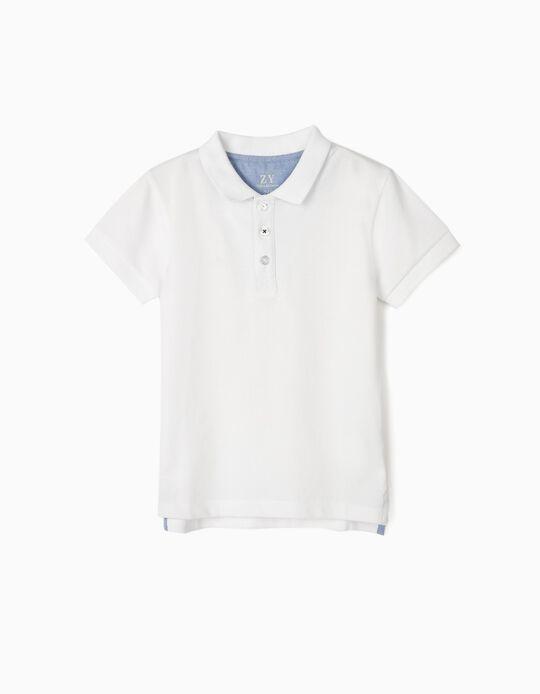 Short Sleeve Polo Shirt for Boys, White