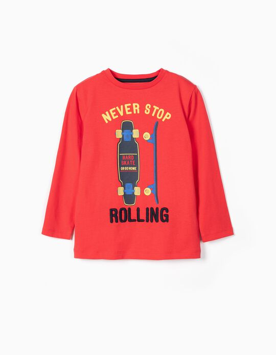 T-shirt Manga Comprida para Menino 'Rolling', Vermelho