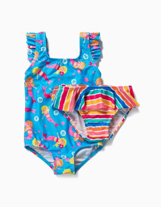 Maillot de bain et culotte bébé fille 'Sirènes et rayures', bleu