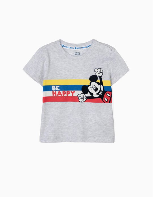 T-shirt para Bebé Menino 'Mickey Be Happy', Cinza
