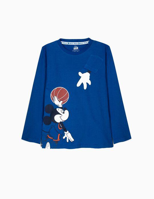 T-shirt Manga Comprida para Menino 'Mickey Basketball', Azul