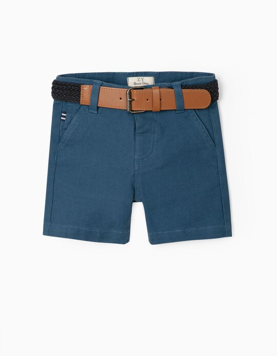Dobby Shorts with Belt, for Baby Boys, Blue