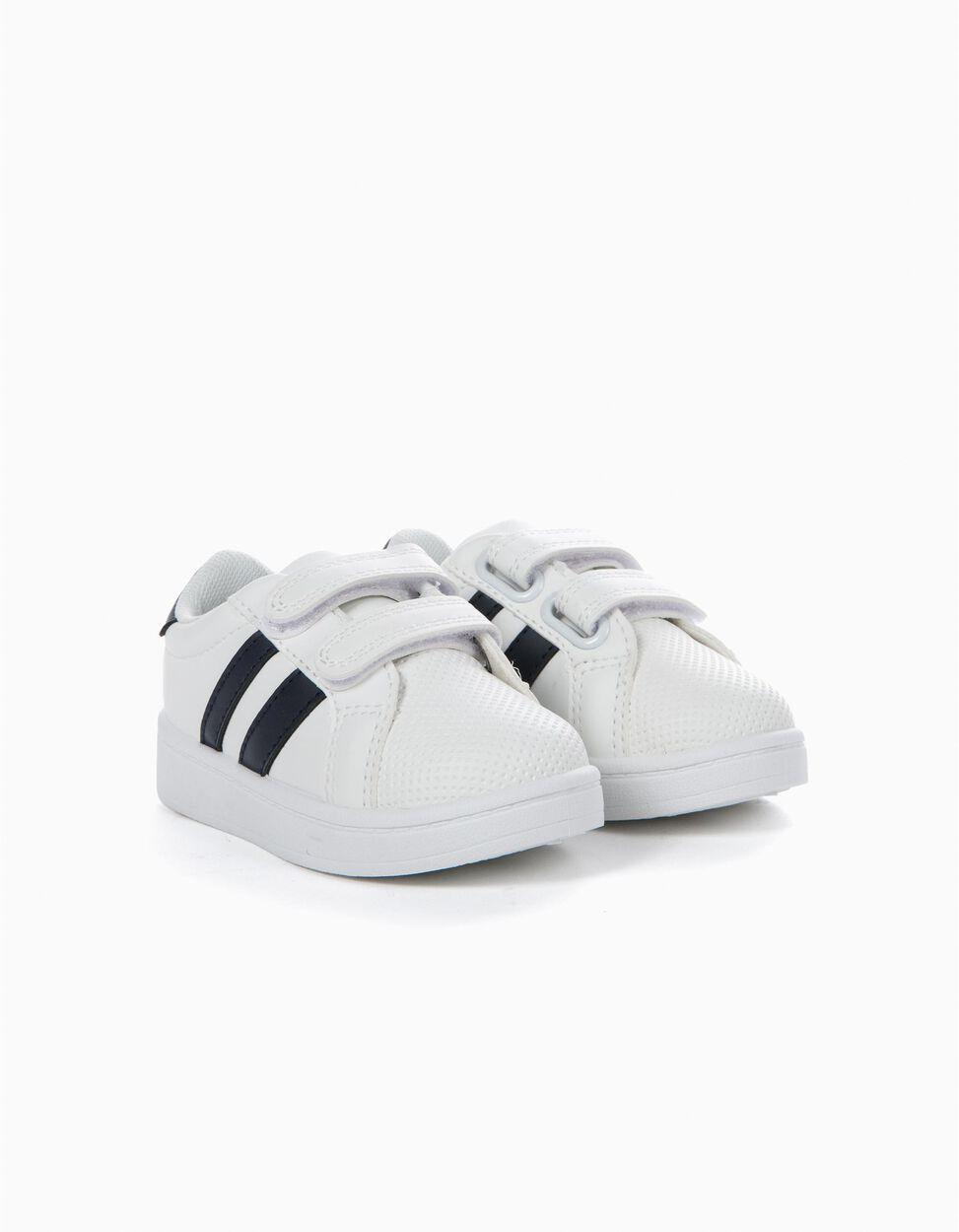 Zapatillas con Cierre Autoadherente Blancas y Azules