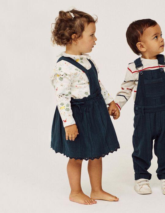 Falda con Peto a Rayas para Bebé Niña, Azul Oscuro