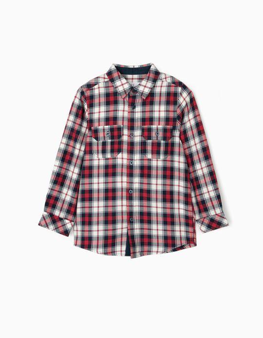 Camisa Ajedrez para Niño, Azul/Rojo