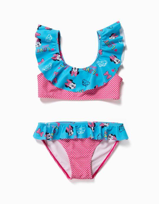 Bikini para Niña 'Minnie' Antirrayos UV 80, Rosa y Azul