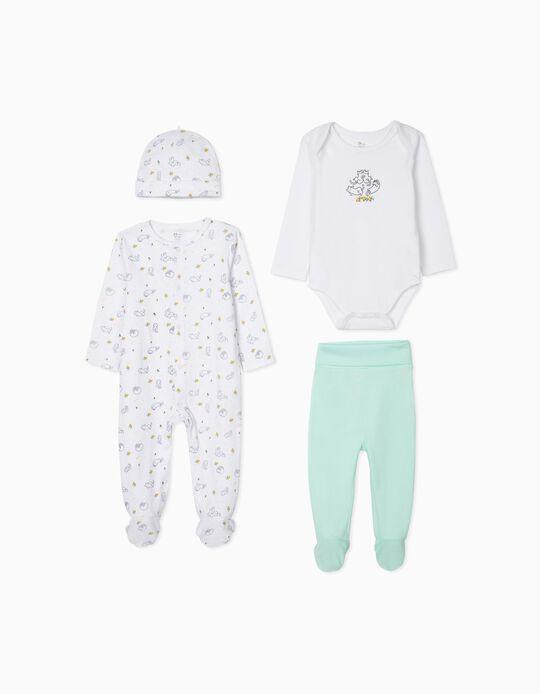 4-Piece Set for Baby Girls 'Cats', Aqua Green/White