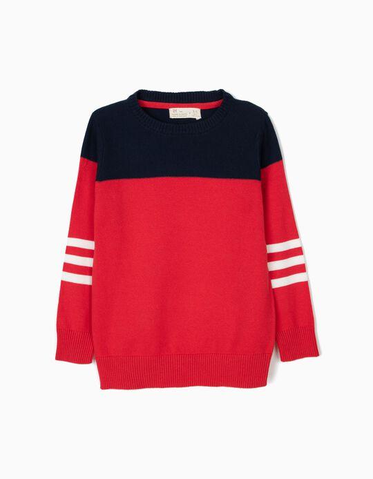 Camisola de Malha para Menino, Vermelha e Azul