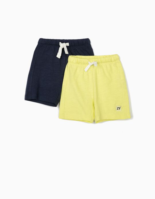 2 Jersey Knit Shorts for Baby Boys, Dark Blue/Lime Yellow