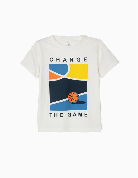 T-shirt para Menino 'Basketball', Branco