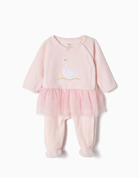 Pelele de Terciopelo para Recién Nacida 'Swan Princess', Rosa
