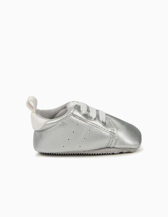 Zapatillas para Recién Nacida con Elásticos, Plateado y Blanco