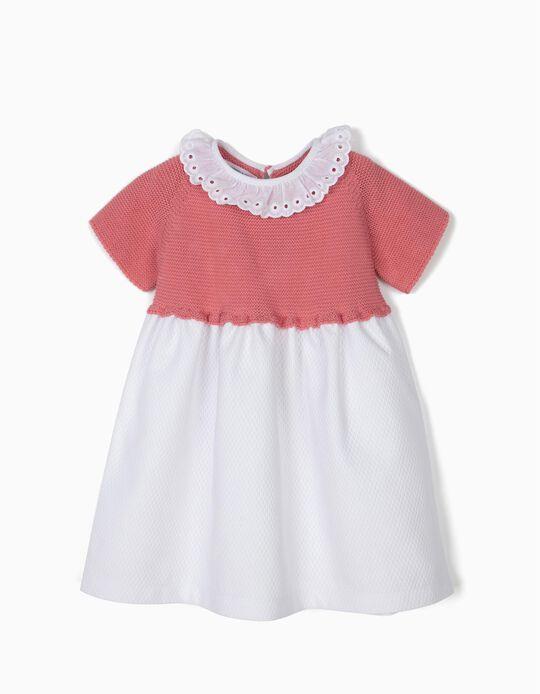 Vestido Dos Tejidos para Bebé Niña 'Brothers & Sisters', Rosa y Blanco