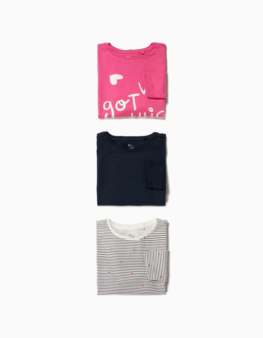 3 Camisetas de Manga Larga para Niña 'Girls', Multicolor