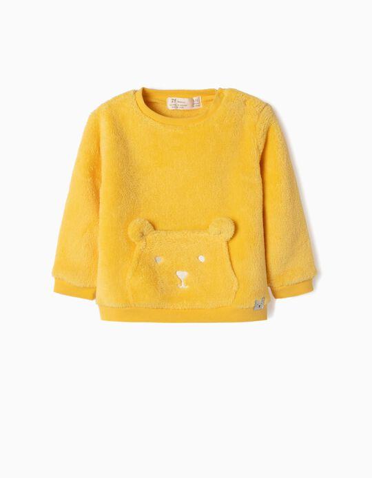 Sweatshirt Coralina para Recém-Nascido 'Teddy Bear', Amarelo