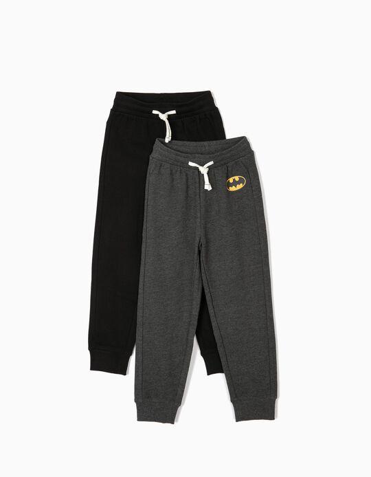 2 Pantalones de Chándal para Niño 'Batman', Negro y Gris