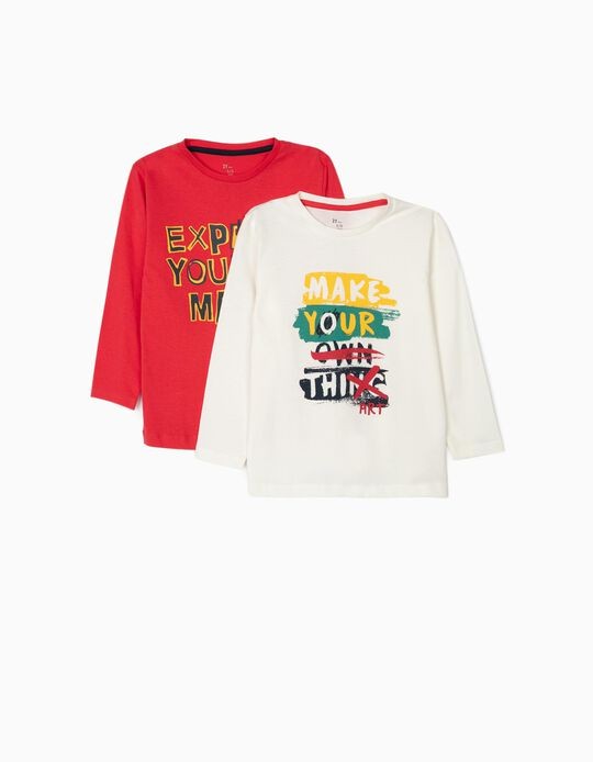 2 Camisetas de Manga Larga para Niño 'Make your Art', Blanco/Rojo