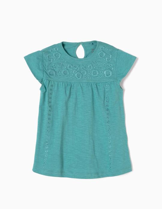 Camiseta con Bordados Azul