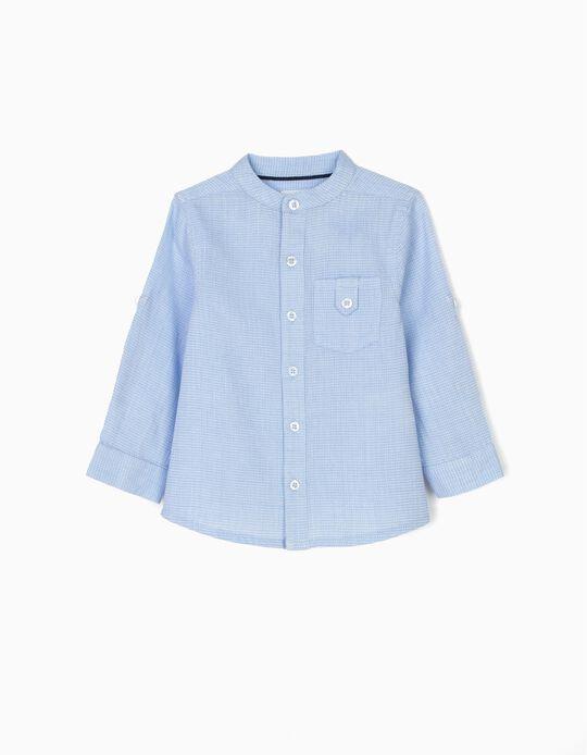 Camisa para Bebé Menino com Gola Mao, Azul