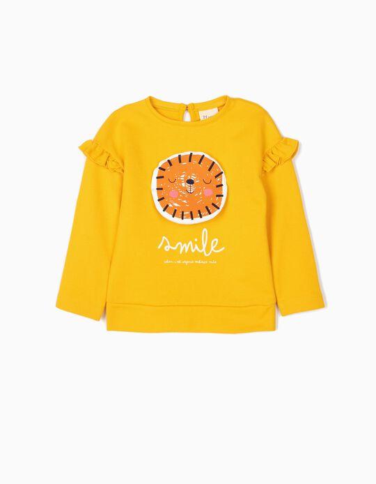Sweatshirt para Bebé Menina 'Lion Smile' , Amarelo