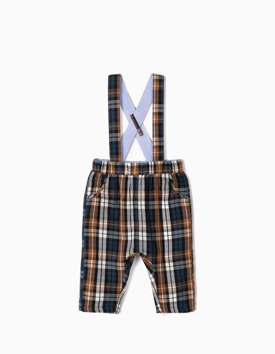 Pantalón con Tirantes Ajedrez para Recién Nacido, Azul Oscuro/Marrón