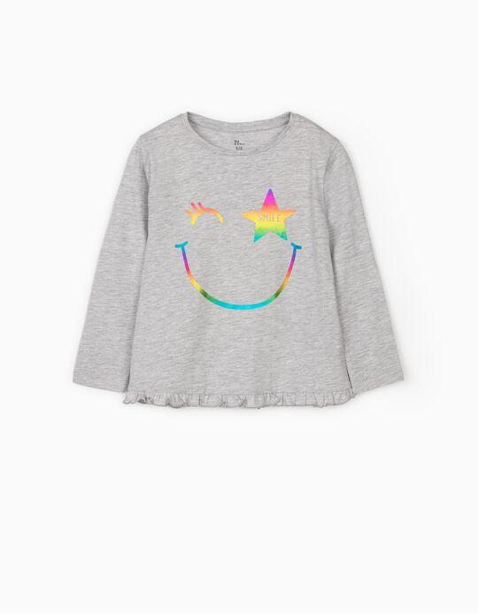 Camiseta de Manga Larga para Niña 'Smile', Gris