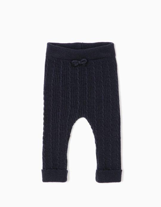 Calças de Malha para Recém-Nascida, Azul Escuro