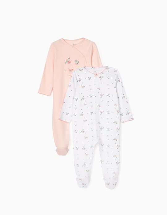 2 Sleepsuits for Baby Girls 'Butterfly', White/Pink