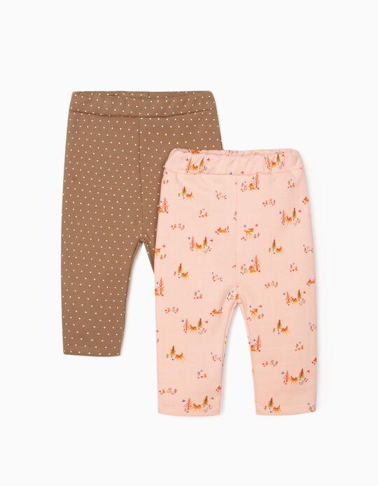 2 Leggings para Bebé Niña 'Bambi', Rosa/Camel