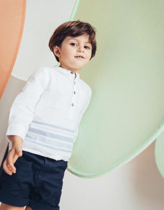Camisa para Bebé Menino Riscas e Gola Mao, Branco