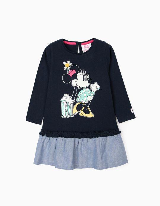 Vestido Combinado para Bebé Menina 'Minnie', Azul