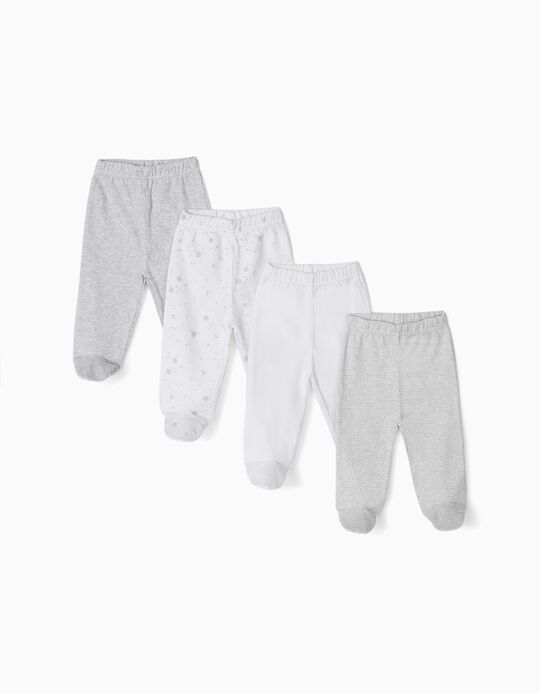 4-Pack Trousers with Feet for Newborn 'Space', Grey/White