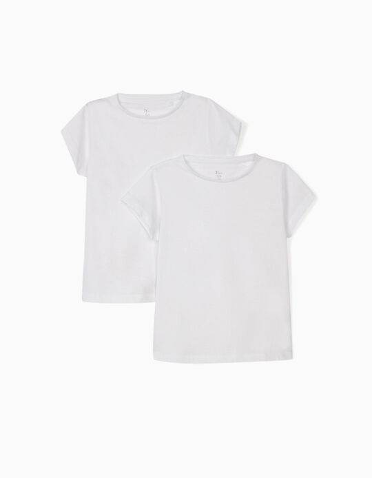 2 T-Shirts Lisas para Menina, Branco
